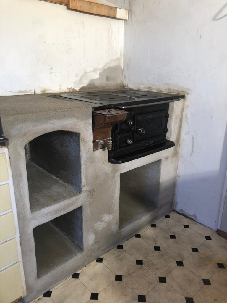 Wooden stove in the old kitchen
