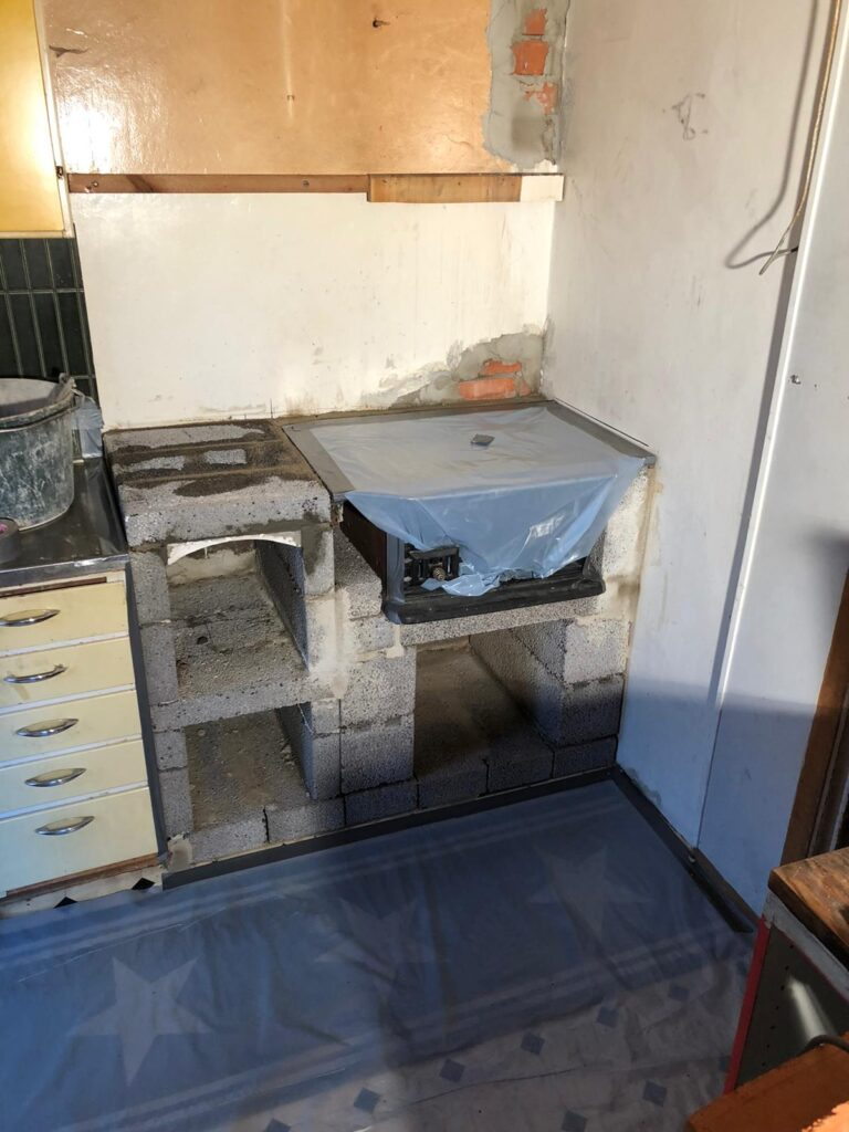 Building up the wood stove