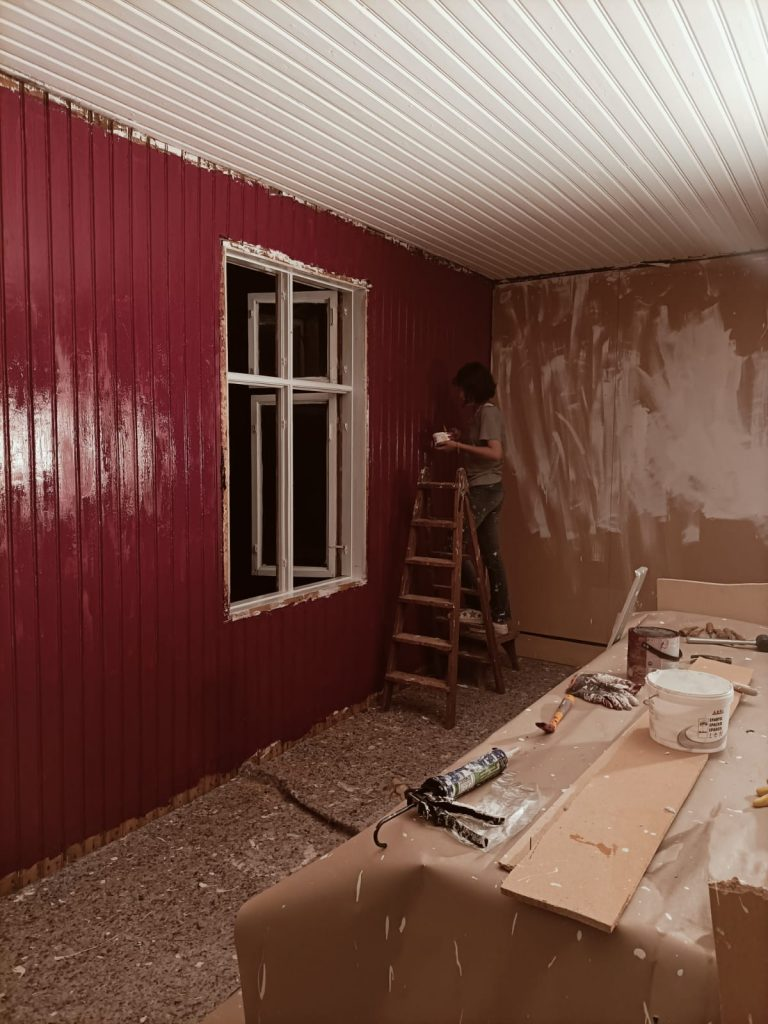painting a red wall